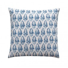 Azure Blue Linen Floral Damask Pillow Cover