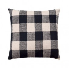 Black Linen Buffalo Check Plaid Pillow Cover
