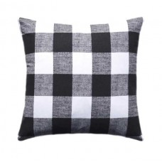 Black Outdoor Plaid Check Pillow Cover