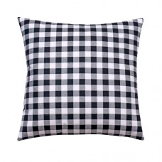 Black Gingham Check Plaid Pillow Cover