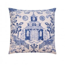 Bluestone Pagoda Chinoiserie Linen Pillow