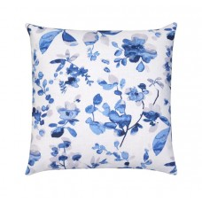 Blue and Grey Linen Floral Pillow Cover