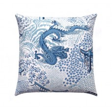 Blue Chinese Dragon Chinoiserie Toile Pillow Cover