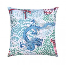 Aqua Chinese Dragon Chinoiserie Toile Pillow Cover